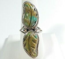 NAVAJO RITA DAWES STERLING SILVER DOUBLE CARVED FEATHER TURQUOISE SIZE 9 RING