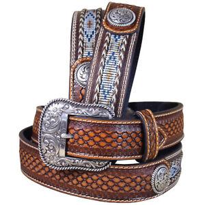 32-46 In Western Ariat Belt Leather Mens Basketweave  Conchos Brown U-3248