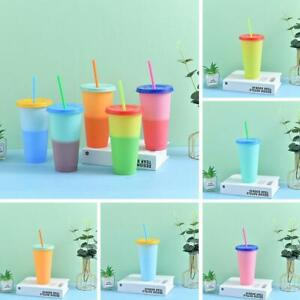 24oz Reusable Cold Drink Cups Color Changing Tumblers Lids Straws Popular