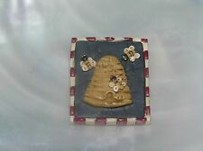 Bees Country Rectangle Pin Brooch - Estate Small Carved Resin Beehive &
