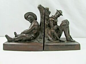 Pair Of Maitland Smith Ltd. Dark Bronze Figural Bookends Hand Crafted