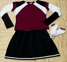"Adult Maroon Black White Real Cheerleader Uniform Top Skirt Socks 40-43/34-37"""