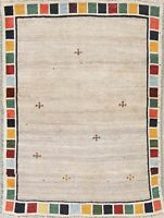 One-of-a-Kind Contemporary Gabbeh Persian Hand-Knotted Wool IVORY Modern Rug 4x5