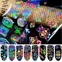 8Pcs Colorful Laser Holographic Nail Art Foil Nails Glitter Sticker Wrap