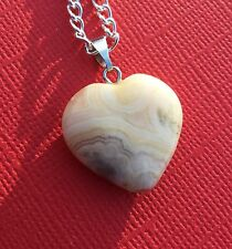 NEW! Crazy Lace Agate Gemstone Heart Pendant Charm Necklace - Aussie Seller!!!