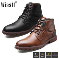 Wisstt Men's Leather Water Ankle Shoes Combat Lace Up Military Army Biker Boots