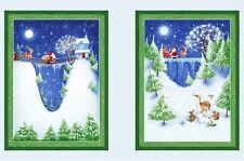 Christmas Village Night Sky Santa Snow Stars Full Moon Deer Fabric Panel