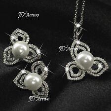 18K GF WHITE GOLD CLEAR CRYSTAL PEARL NECKLACE STUD EARRINGS FASHION SET