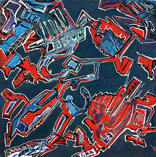 ORGANIC  ARTIFACT ABSTRACTION IN RED WHITE AND BLUE ORIGINAL ACRYLIC PAINTING