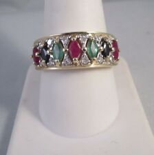 14K YELLOW GOLD EMERALD SAPPHIRE RUBY DIAMOND BAND RING Sz 10