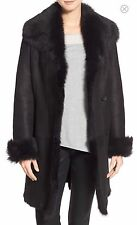 New! $2,495 HIDE SOCIETY HIDESOCIETY Raw Edge Genuine Toscana Shearling Coat Sz4