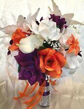 Wedding Flowers Bridal Bouquet Package Plum Purple Orange Tiger Lily 21 Piece