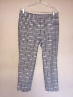 Womens Express Columnist Gingham Black & White Checkered Career Pants Size 8R