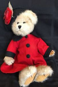 """Bearington Collection Lady Bear with Red Jacket Black Hat Red Rose 13"""""""