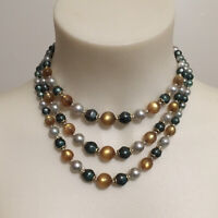 Vintage 1950s Beaded Necklace, Vintage Jewelry, 3-Strand Beaded Necklace