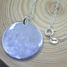 "Shiny 925 Sterling Silver Plated Round Plain Disc Tag Pendant Necklace 18"" Gift"