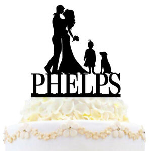 Personalized Family Wedding Cake Topper Couple Kids And Dogs Cats with Name Date