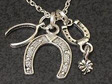 "Western Horseshoe Clover Good Luck Charm Tibetan Silver 18"" Necklace Mix B"