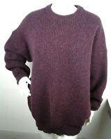 Womens Mint Maddy Moss Scotland Burgundy Wool Jumper Sweater Fisherman Large