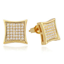 New Hip Hop Stud Earring for Men and Women 18K Gold Silver Plated CZ Earrings