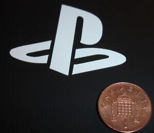 2x Playstation Logo Vinyl Sticker (Small) - White - 50mm x 40mm