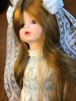 Brinn's Porcelain Doll VINTAGE super long hair white veil 1990 GRACE