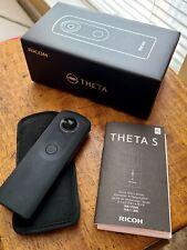 Ricoh THETA S 14.0MP Digital Camera - Black, with a selfie stick