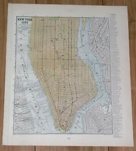 1886 ORIGINAL ANTIQUE CITY MAP OF MANHATTAN NEW YORK / VERSO MAP OF BROOKLYN