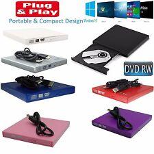 Esterno USB 2.0 SLIM disco DVD Rw CD Rw Bruciatore Scrittore Lettore Masterizzatore Fotocopiatrice UK