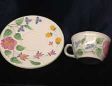 HEREND VILLAGE POTTERY HUNGARY WILDFLOWER CUP & SAUCER 8 OZ FLOWERS GREEN TRIM
