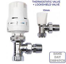 "Thermostatic Radiator Valve Twin Pack 15mm x 1/2"" TRV Lockshield Valves CHEAPEST"