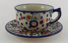 Bunzlauer Keramik Tasse mit Unterteller (F036-AS38), U N I K AT - 0,3 Liter