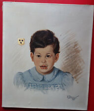 Portrait d'enfant, armoiries, huile sur toile, XXè siècle, signé, daté,bon état