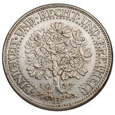 1927-E German Weimar Republic 5 Marks Silver XF Condition KM #56