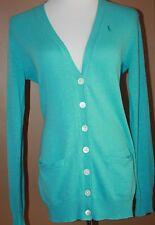 RALPH LAUREN Sport Polo Turquoise Blue Cotton Linen Cardigan Sweater M