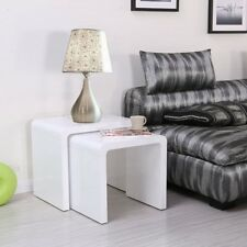 Designer High Gloss White Coffee Table Side/End Table Set of 2