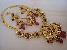 gold tone red stone BEAUTIFUL  Kundan Necklace set with Earring & tikka 3400M