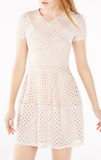 New WithTags BCBG Maxazria Elyze Lace Blocked Dress Large nude pink women's