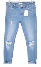 Topshop Skinny Boyfriend LUCAS Blue RIPPED FRAYED Crop Jeans Size 12 W30 L32