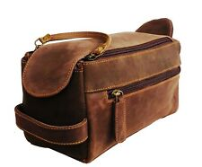 Vintage Leather Canvas Travel Toiletry Bag Shaving Dopp Kit Men Shaving Case