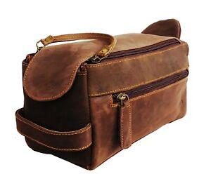 DHK Handmade Leather Canvas Toiletry Travel Bag Shaving Dopp Kit Bag LM-277