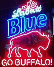 "Labatt Blue Buffalo Bills Go Buffalo Neon Light Lamp Sign 32""x24"" Beer Glass Bar"
