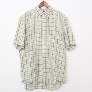 Brooks Brothers Mens Button Up Shirt Green Short Sleeves Size Large VTG Plaid