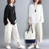 Lady Cotton Linen T Shirt Tops Plain Loose Batwing Sleeve Blouse Retro Casual