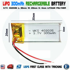 3.7V 300mAh 402035 Polymer Lithium LiPo Rechargeable Battery replacement 250mAh