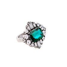 Ring Silber Art Deco Quadrat Grün Smaragd Kristall Class Retro T53 Z3