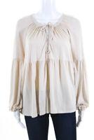 Rachel Pally Womens Gathered Long Sleeve V-Neck Blouse Top Shirt White Size XS