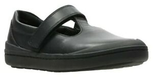 Clarks Girls Rock Move Black Leather School Shoes Size UK 12.5 F