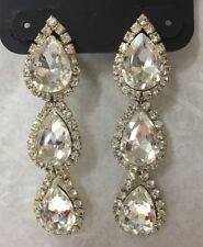 Charming Charlie RSVP Tear Drop Rhinestone Dangle Earrings Gold