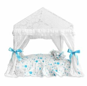 New Cute Princess Handmade Pet Dog Cat Bed House Tent Frame Bed Mat White S,M